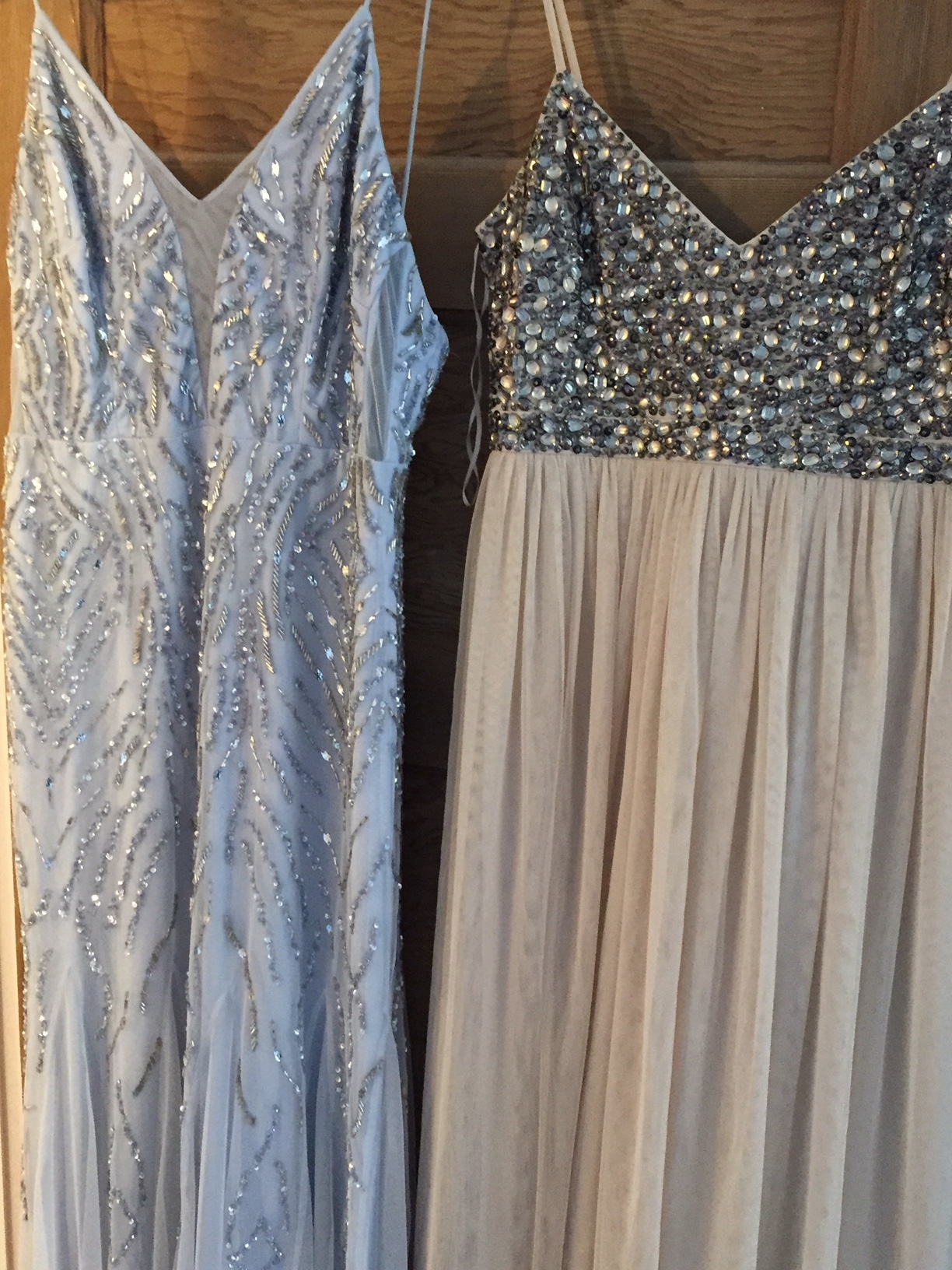 two donated prom dresses